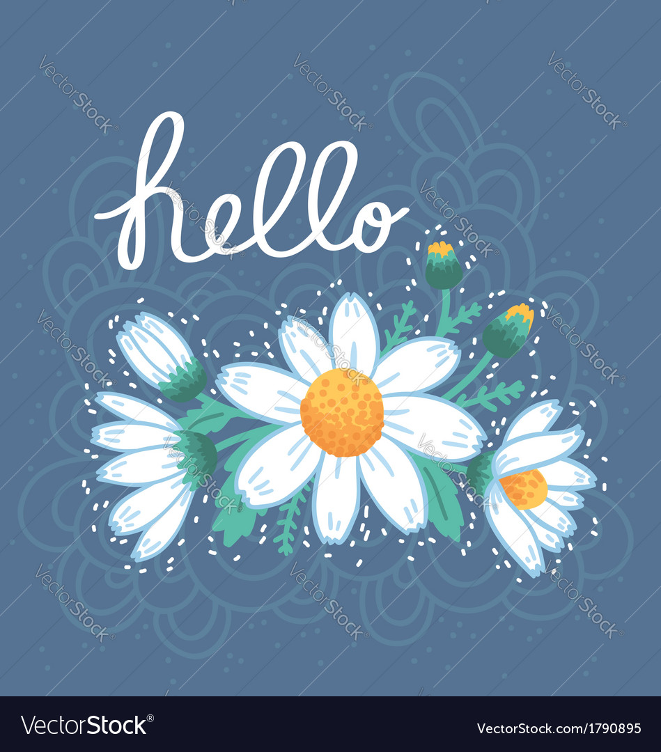 Hello daisies card vector | Price: 1 Credit (USD $1)