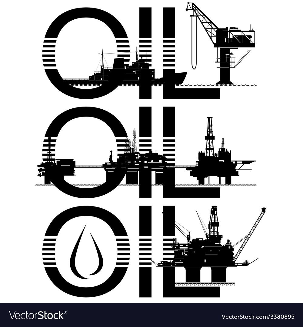 Oil platforms vector
