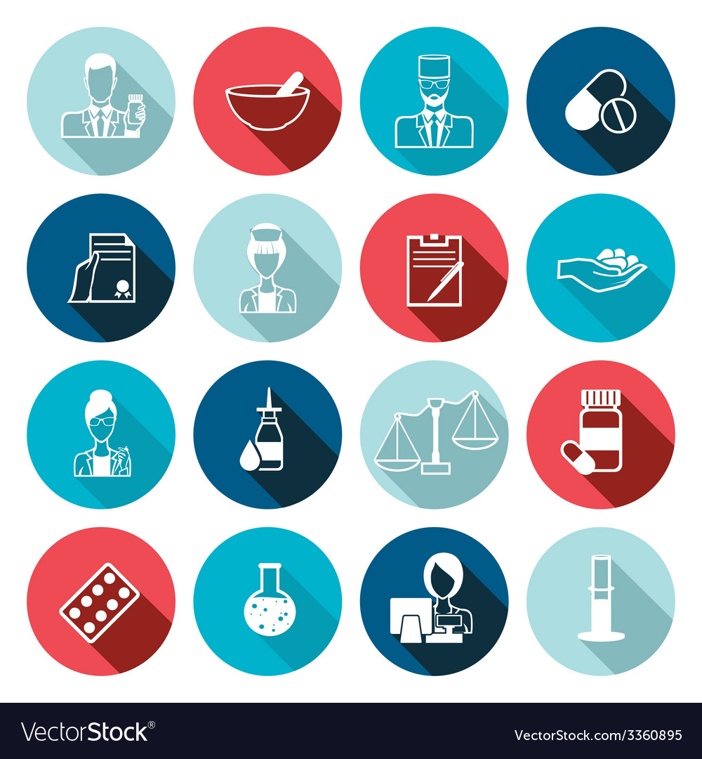 Pharmacist icon outline set vector | Price: 1 Credit (USD $1)