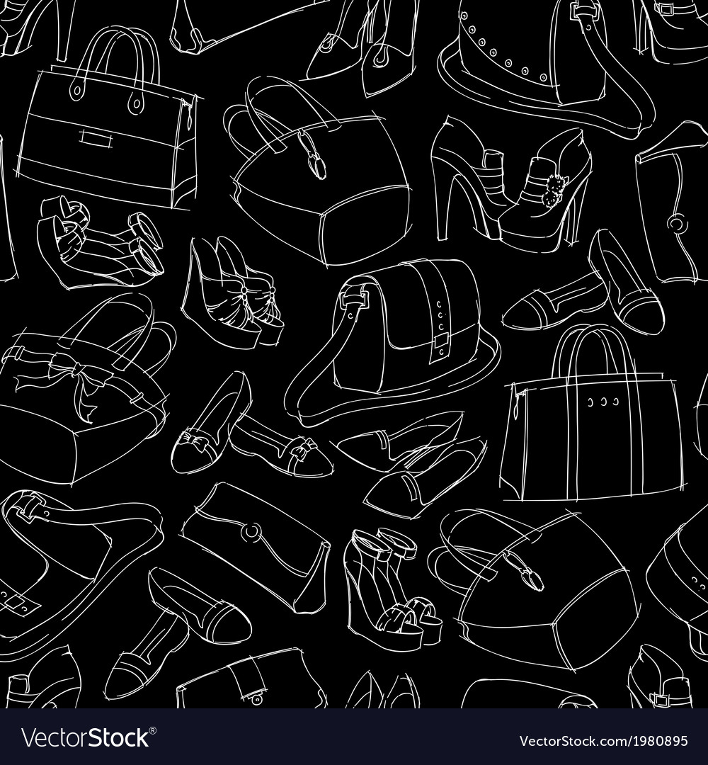 Seamless womans fashion accessory sketch vector | Price: 1 Credit (USD $1)
