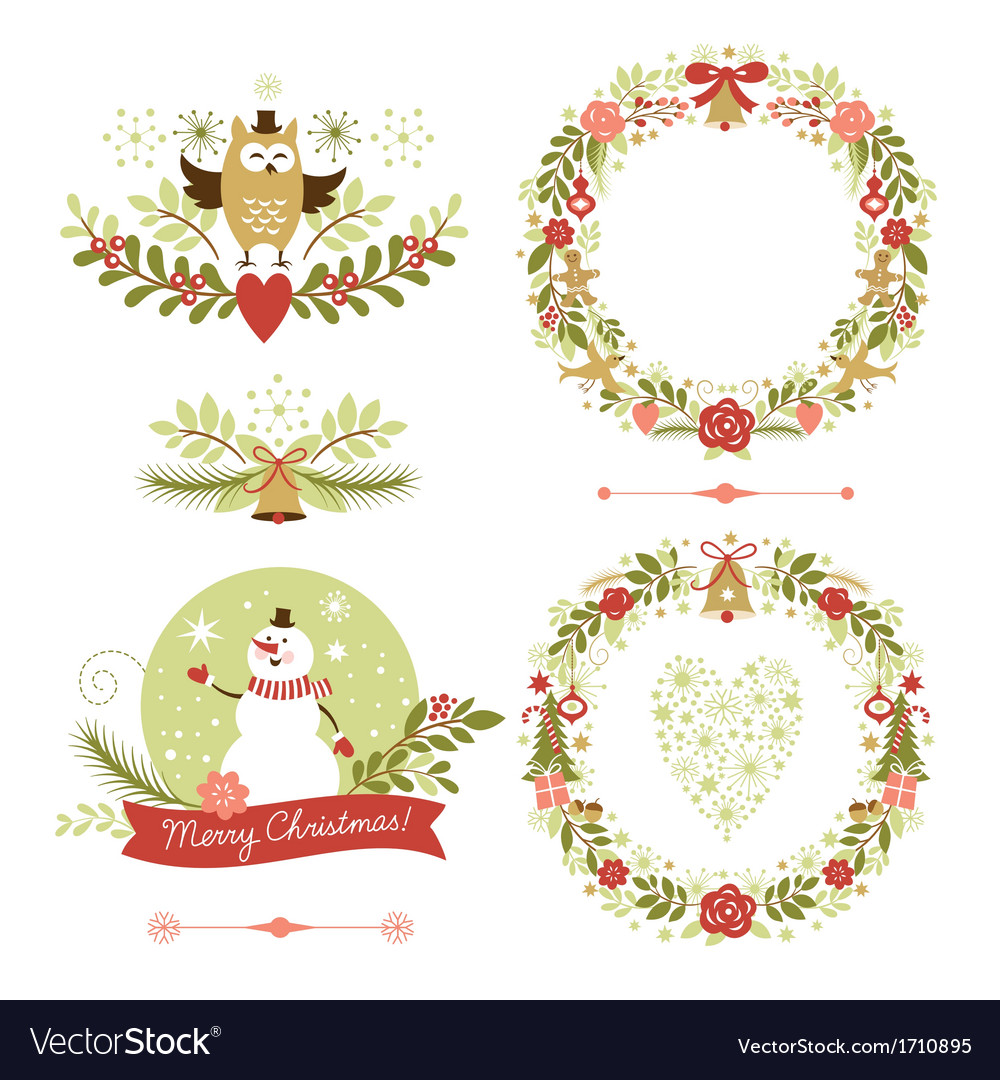 Set of christmas wreaths frames holiday symbols vector | Price: 3 Credit (USD $3)