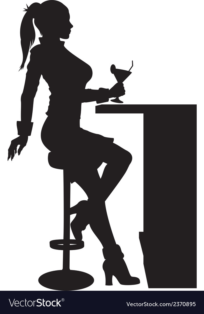 Silhouette woman sitting at the bar with cocktail vector | Price: 1 Credit (USD $1)