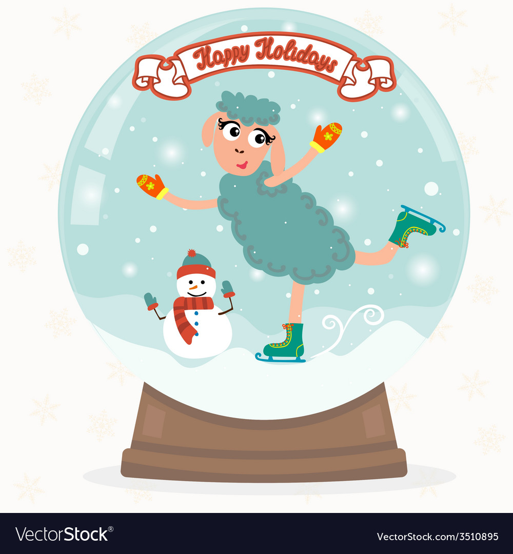 Snow globe with sheep vector | Price: 1 Credit (USD $1)