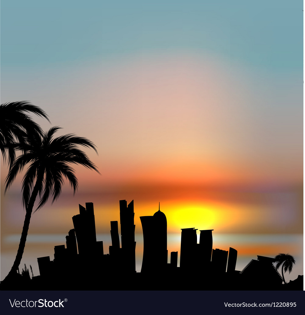 Sunset background with doha silhouette vector | Price: 1 Credit (USD $1)