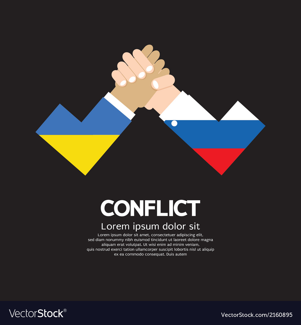 Ukraine vs russia arm-wrestle vector | Price: 1 Credit (USD $1)