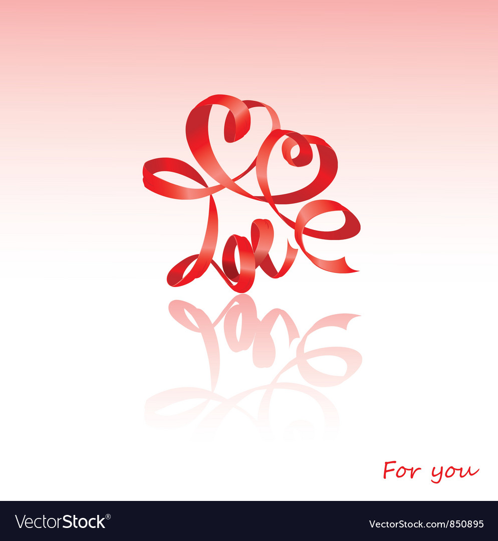Valentines day card with hearts and word love vector | Price: 1 Credit (USD $1)