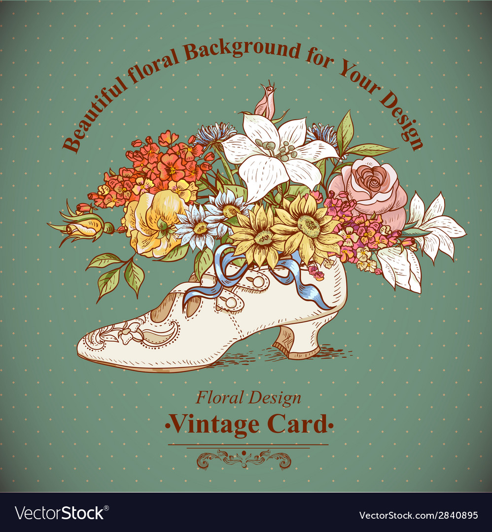 Vintage background with flowers and shoes vector | Price: 1 Credit (USD $1)