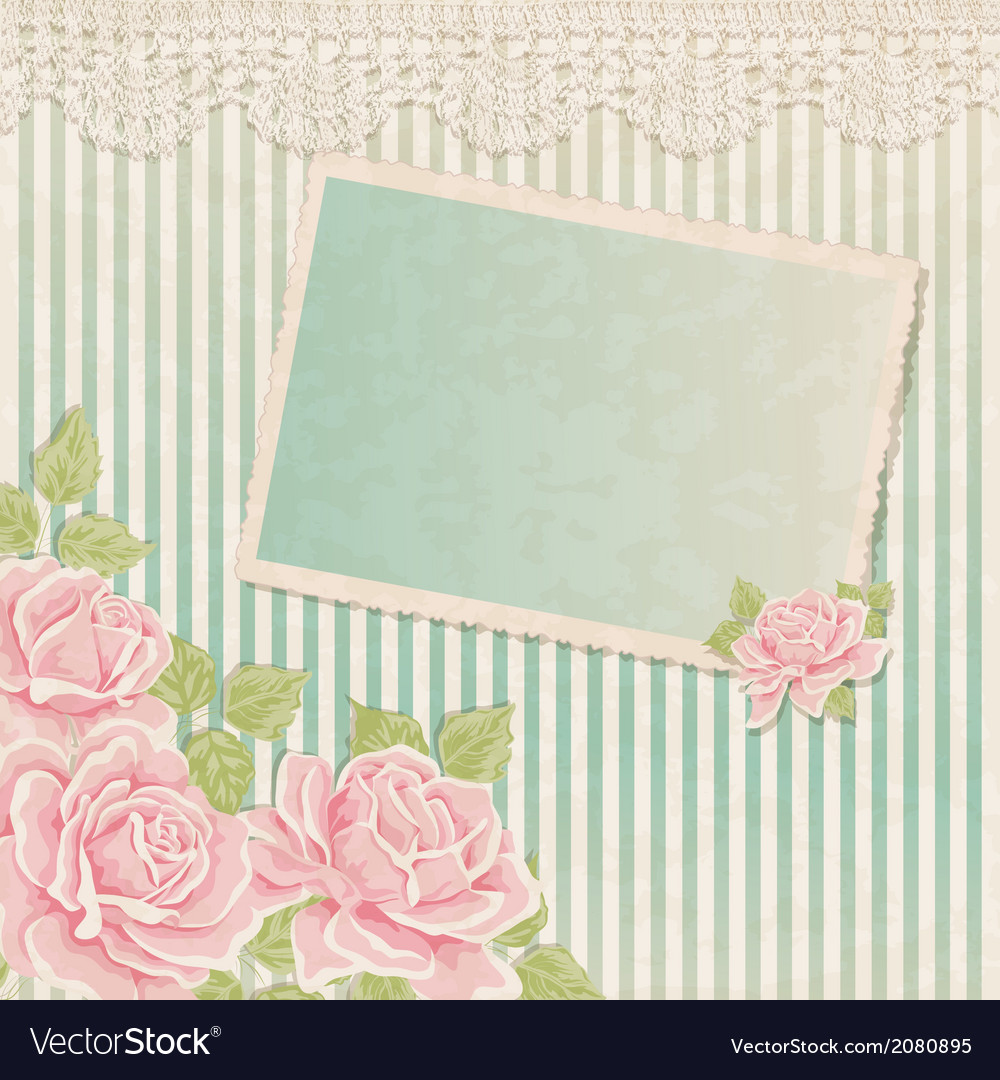 Vintage background with roses and photoframe vector | Price: 1 Credit (USD $1)