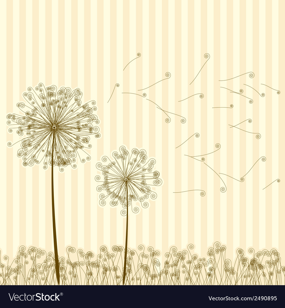 Vintage two dandelions in wind eps8 vector | Price: 1 Credit (USD $1)