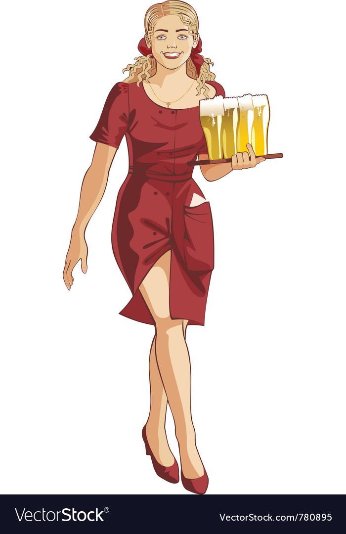 Waitress blond beer restaurant vector   Price: 1 Credit (USD $1)