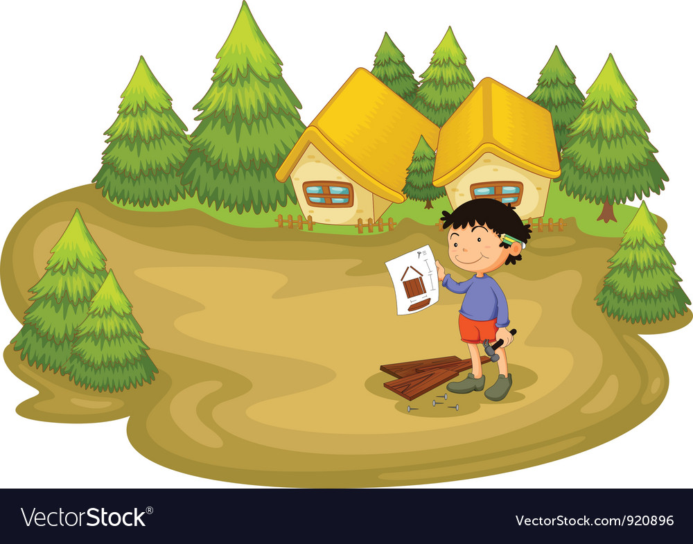 Carpenter in the woods vector | Price: 3 Credit (USD $3)