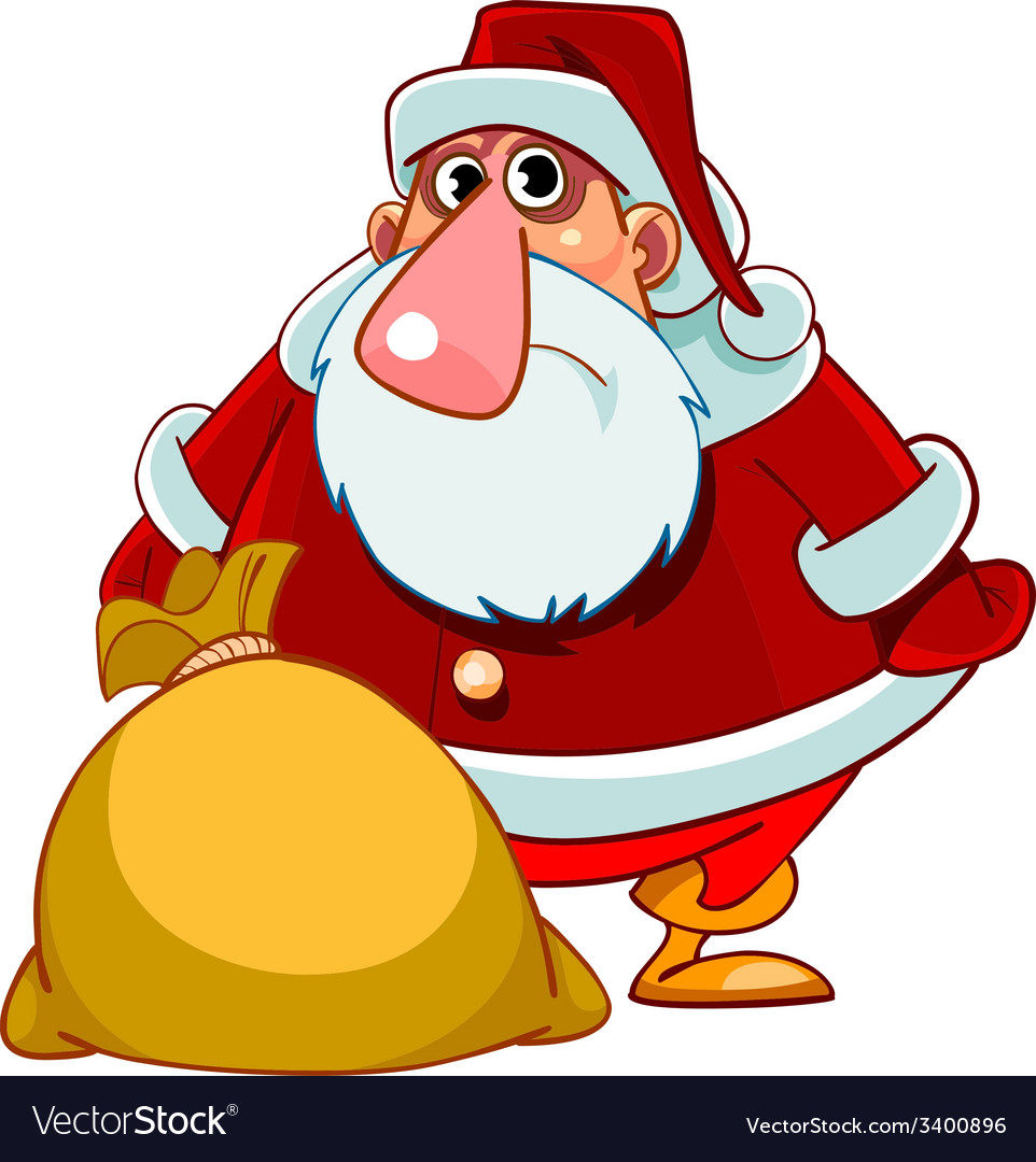 Cartoon surprised santa claus with a bag of gifts vector | Price: 1 Credit (USD $1)