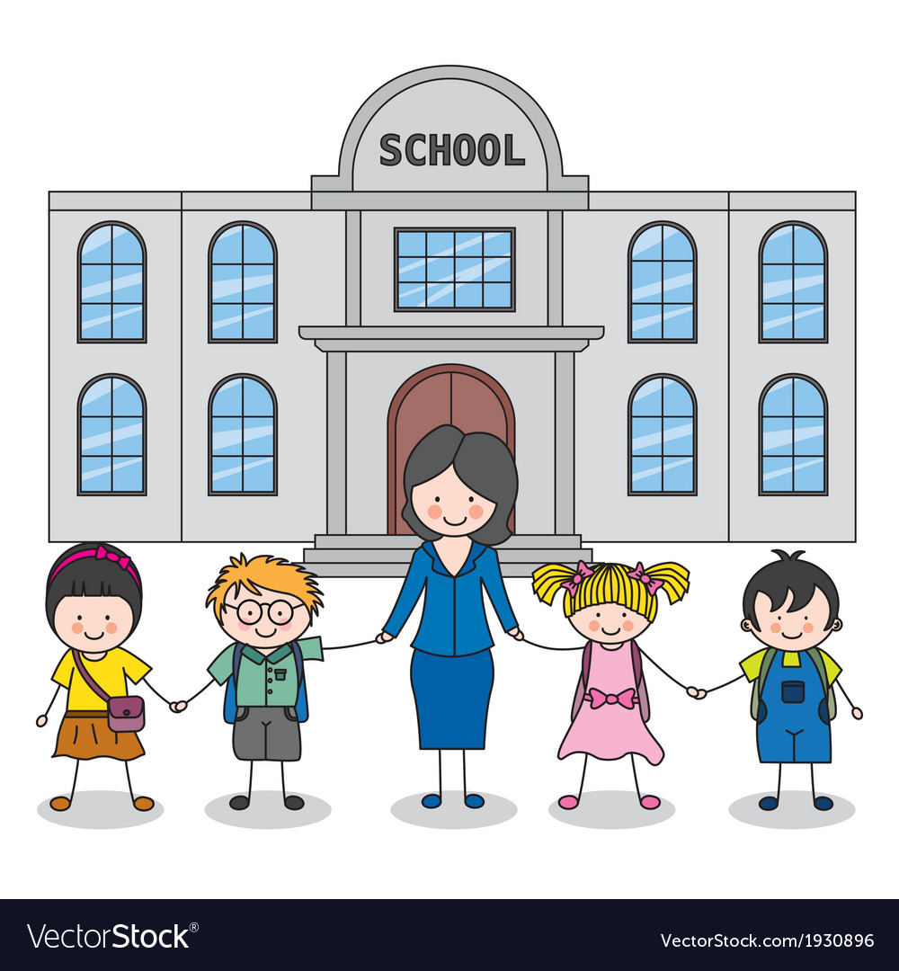 Children with teacher vector | Price: 1 Credit (USD $1)