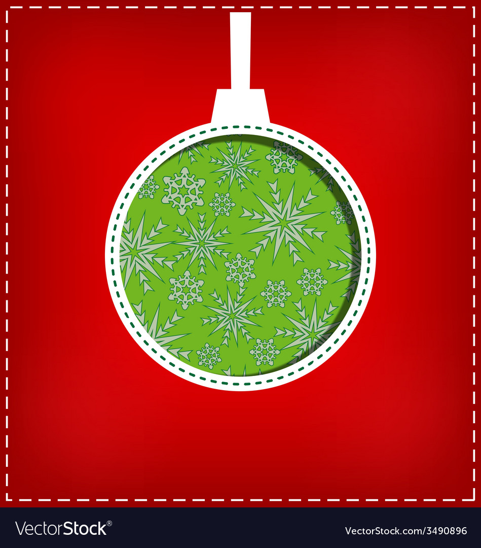 Christmas ball cutout on red vector | Price: 1 Credit (USD $1)