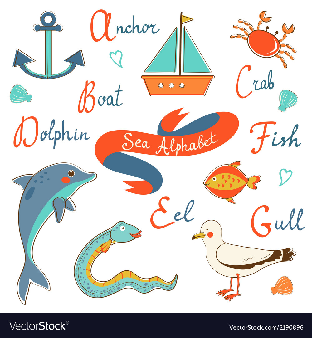 Cute sea alphabet vector | Price: 1 Credit (USD $1)
