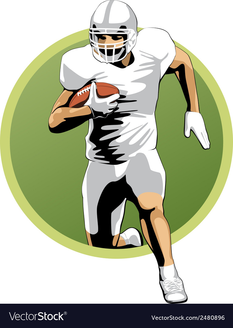 Football player running with the ball vector | Price: 1 Credit (USD $1)