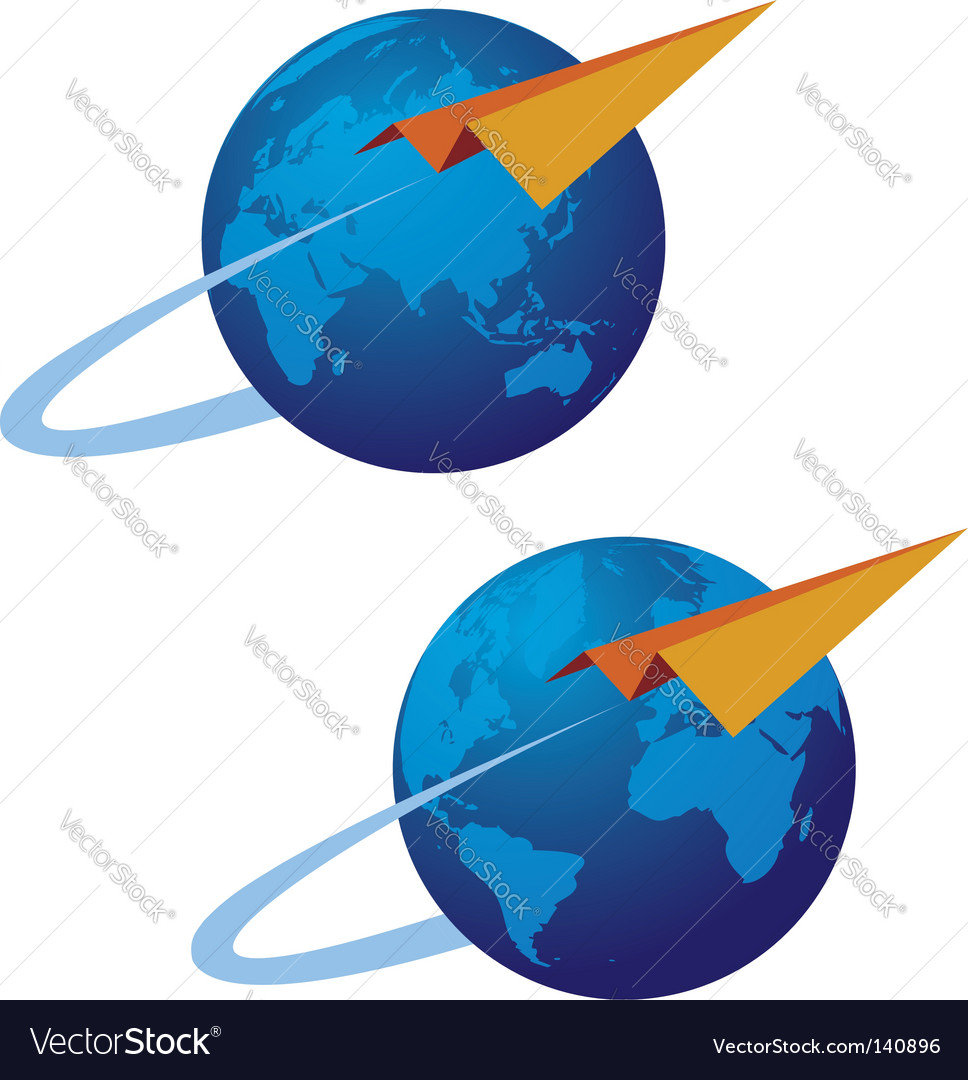 Globe and airplane vector | Price: 1 Credit (USD $1)