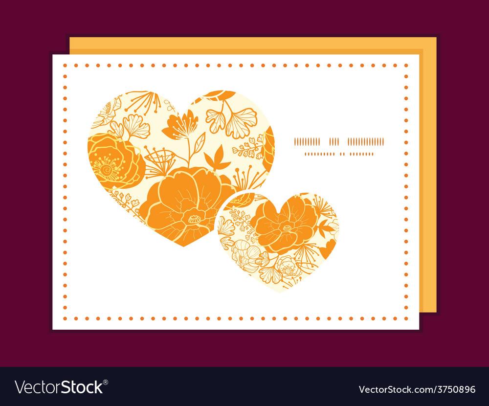Golden art flowers heart symbol frame vector | Price: 1 Credit (USD $1)