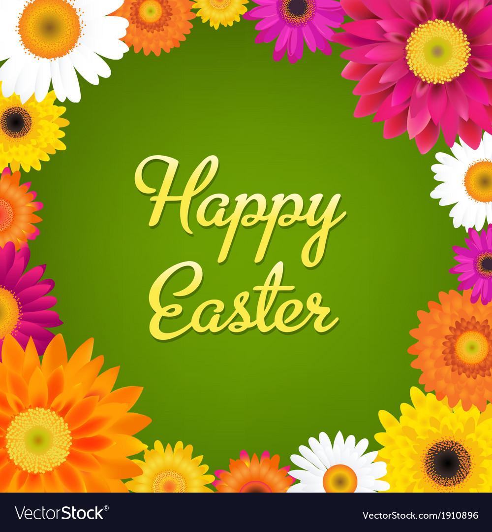 Happy easter card with gerbers vector   Price: 1 Credit (USD $1)