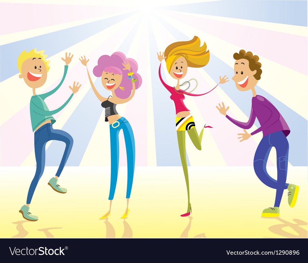 Happy young people dancing vector | Price: 3 Credit (USD $3)