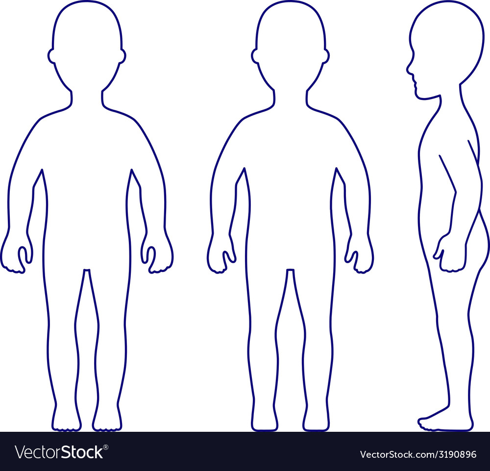 Outlined standing girl view vector | Price: 1 Credit (USD $1)