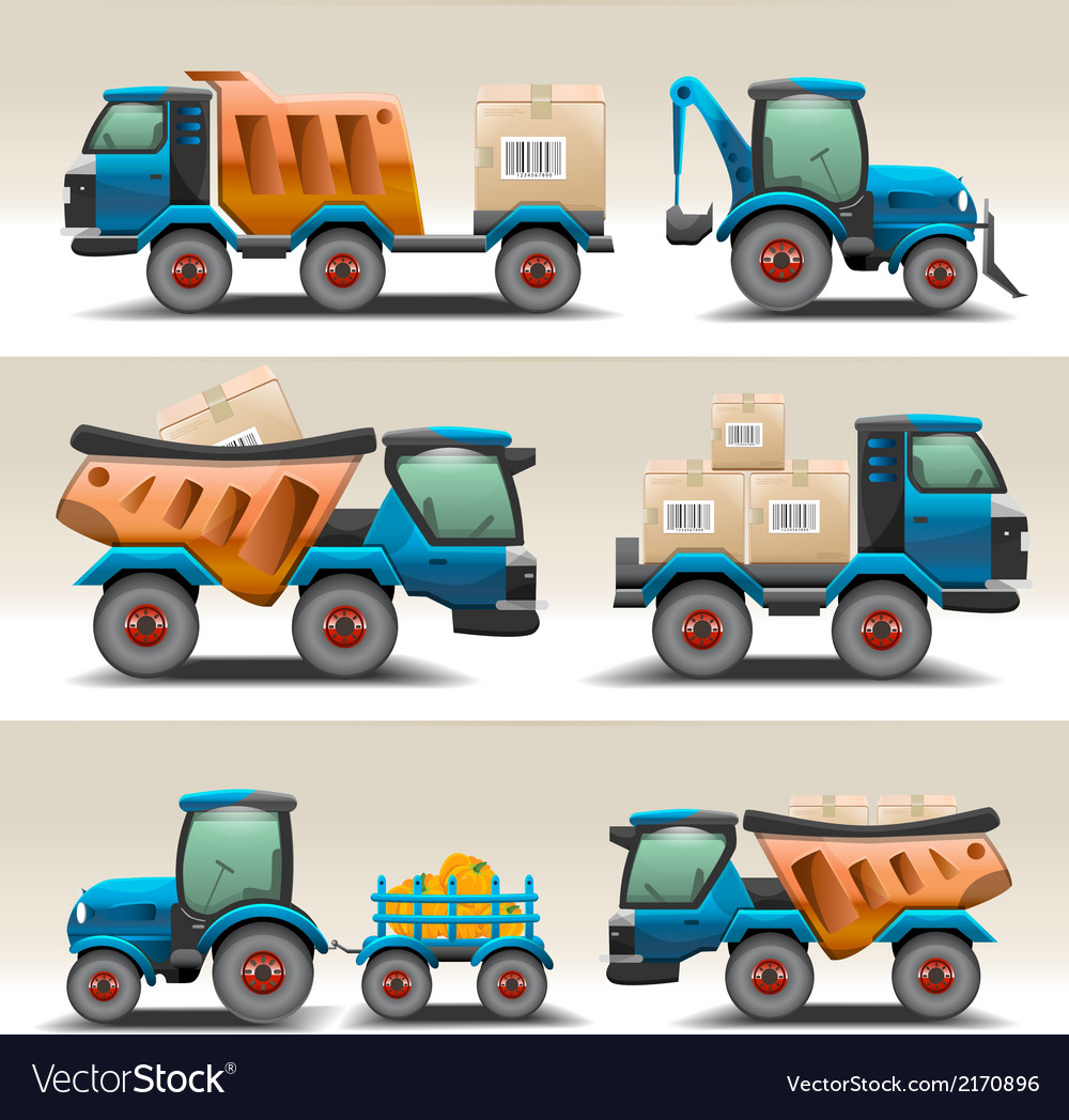 Set of trucks and tractors for transportation vector | Price: 3 Credit (USD $3)