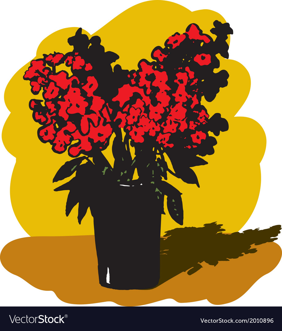 Vase with red flowers vector | Price: 1 Credit (USD $1)
