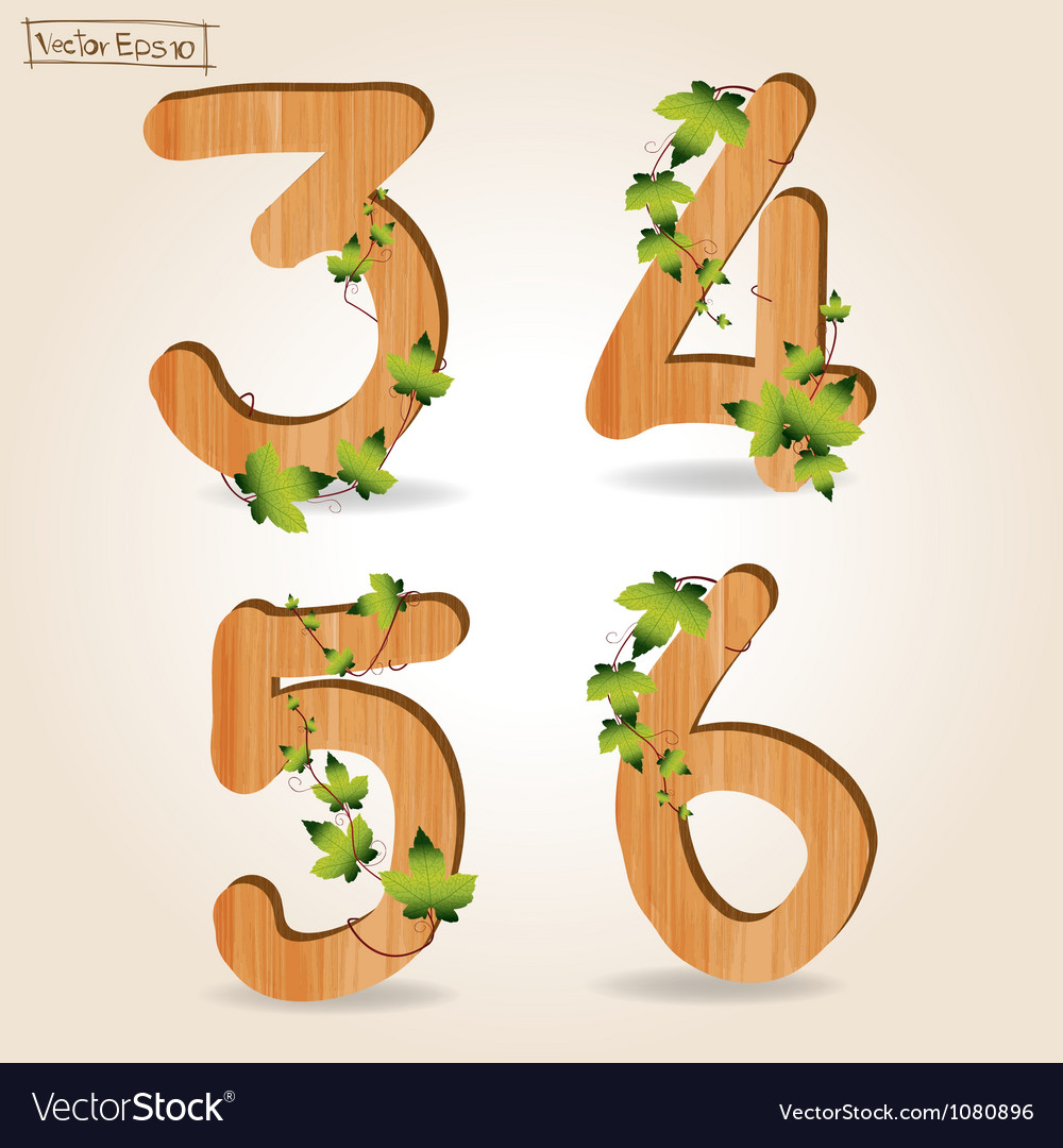 Wood alphabet number with branch green leaves vector | Price: 1 Credit (USD $1)