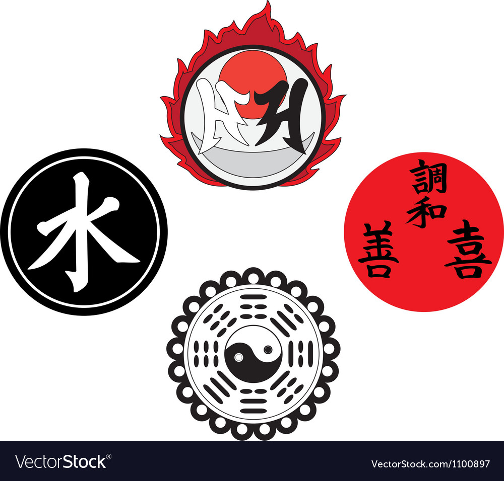 The asian religious and magic symbols vector | Price: 1 Credit (USD $1)