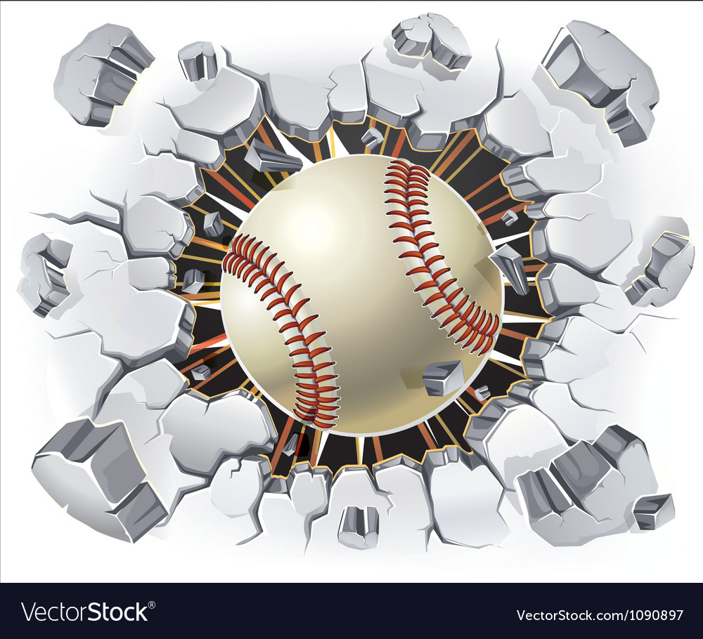 Baseball and old plaster wall damage vector
