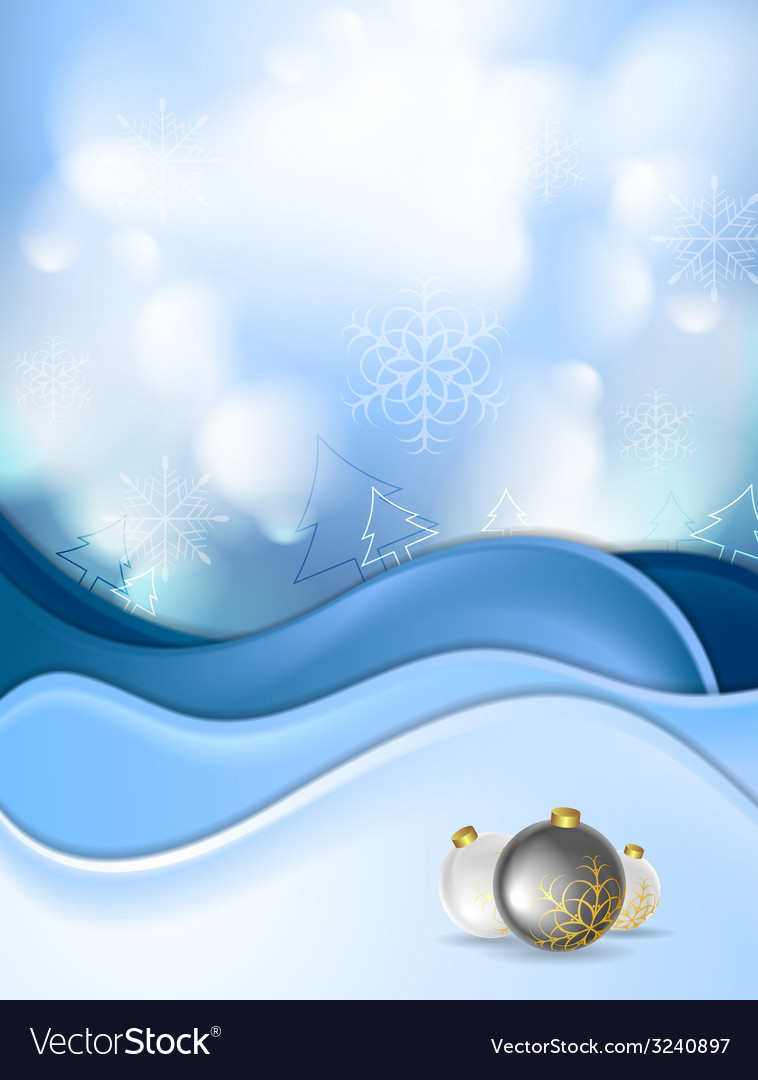 Blue snowdrift and christmas balls vector | Price: 1 Credit (USD $1)