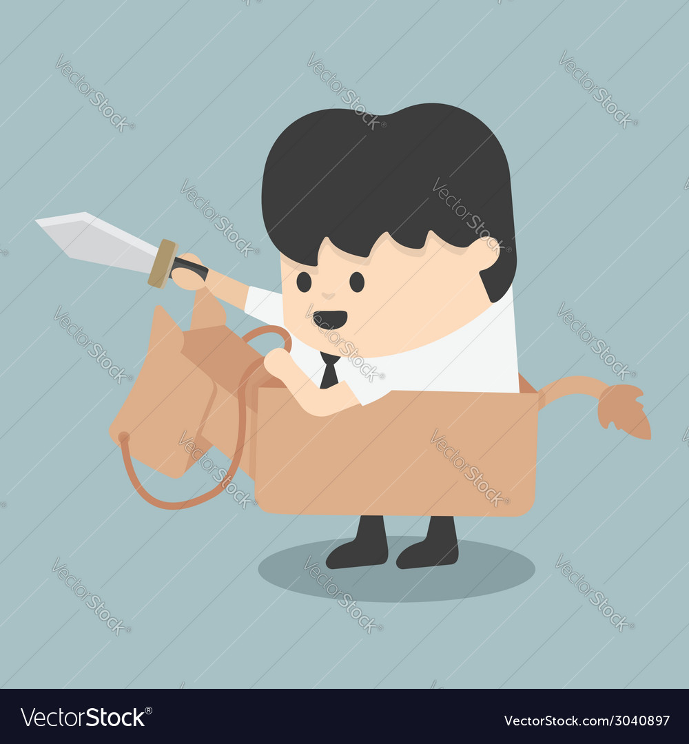 Businessman riding the toy horse fighting with swo vector | Price: 1 Credit (USD $1)