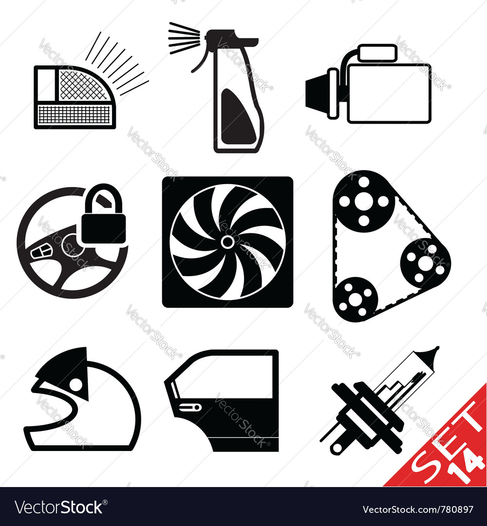 Car part icon set 14 vector | Price: 1 Credit (USD $1)