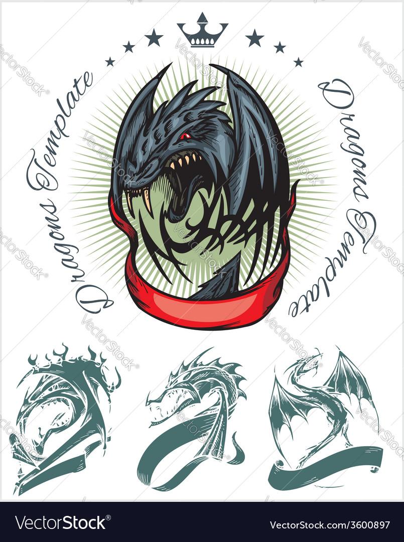 Dragon and ribbon - set stock vector | Price: 1 Credit (USD $1)