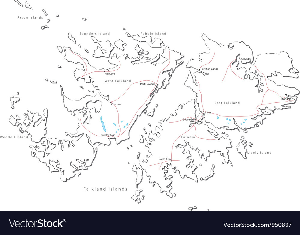 Falkland islands black white map vector | Price: 1 Credit (USD $1)