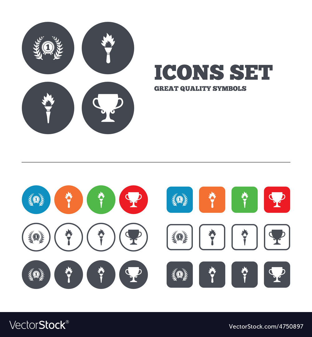 First place award cup icons prize for winner vector | Price: 1 Credit (USD $1)