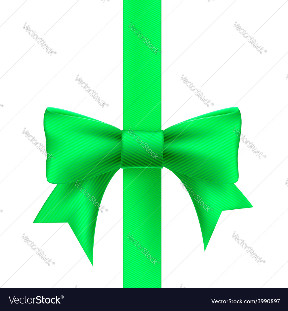 Green ribbon with a bow vector | Price: 1 Credit (USD $1)