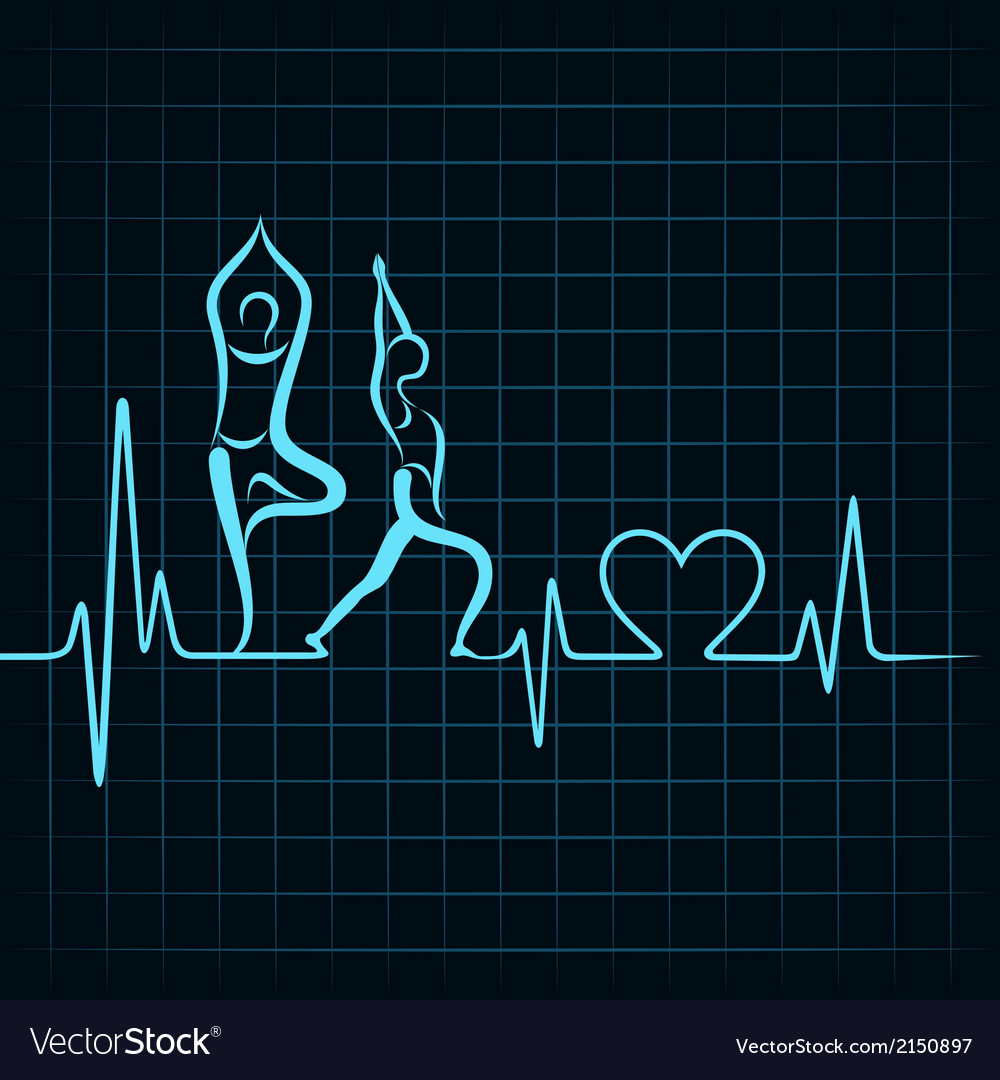 Heartbeat make a yoga girl and heart symbol vector | Price: 1 Credit (USD $1)