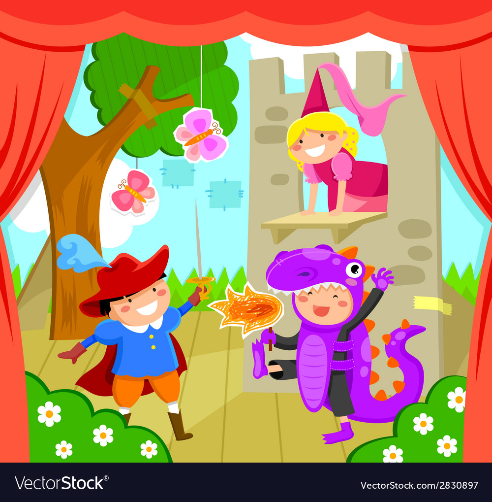 Kids on stage vector | Price: 1 Credit (USD $1)