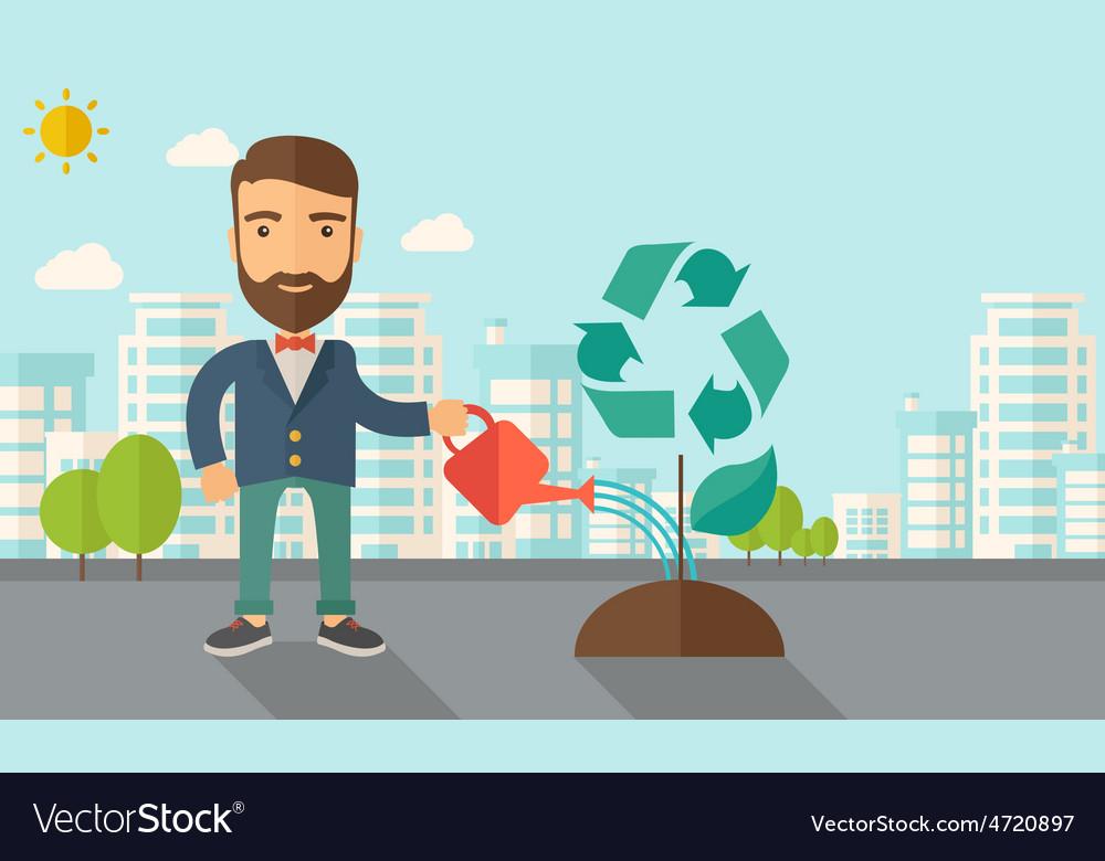 Man watering a tree vector | Price: 1 Credit (USD $1)