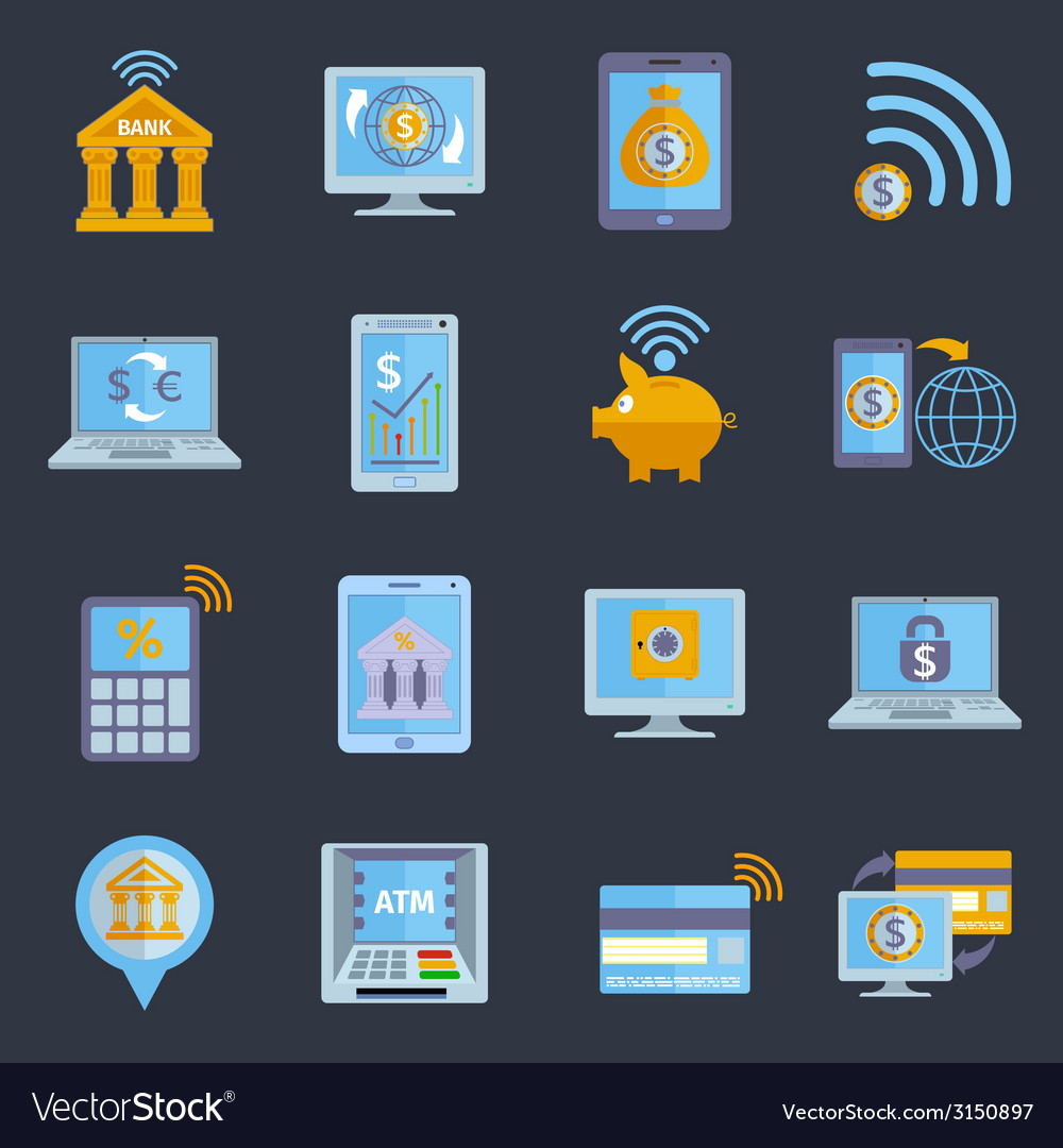 Mobile banking icons vector | Price: 1 Credit (USD $1)