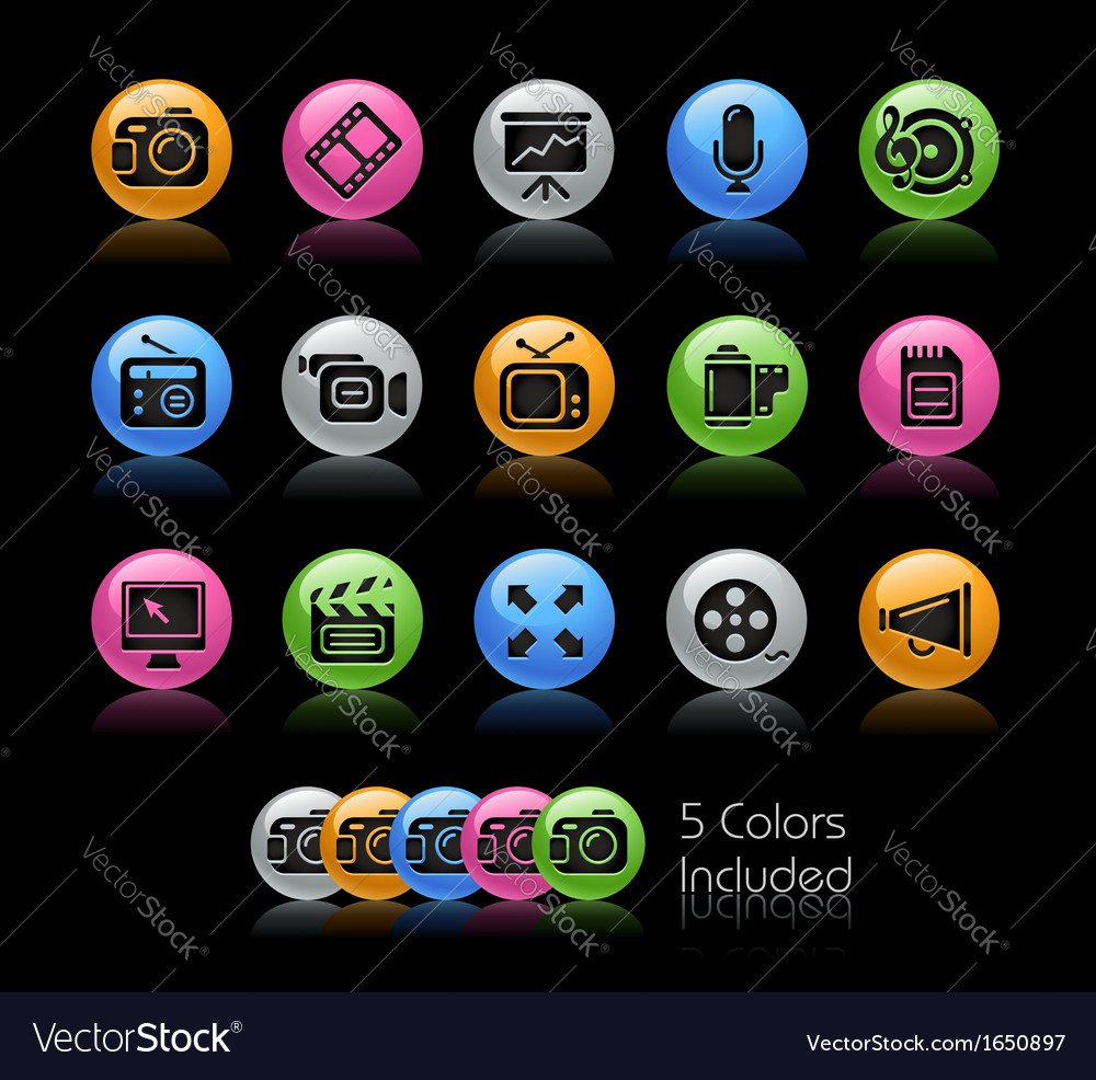 Multimedia icons vector | Price: 1 Credit (USD $1)