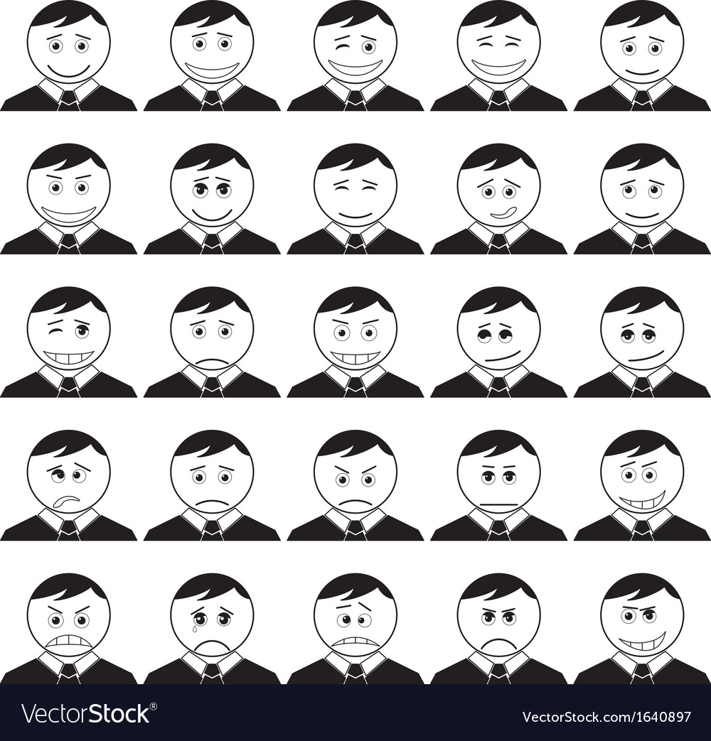 Office smileys set black contour vector | Price: 1 Credit (USD $1)