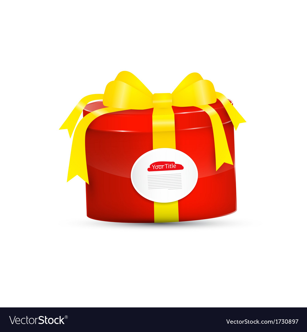 Red present box gift box with yellow ribbon vector | Price: 1 Credit (USD $1)