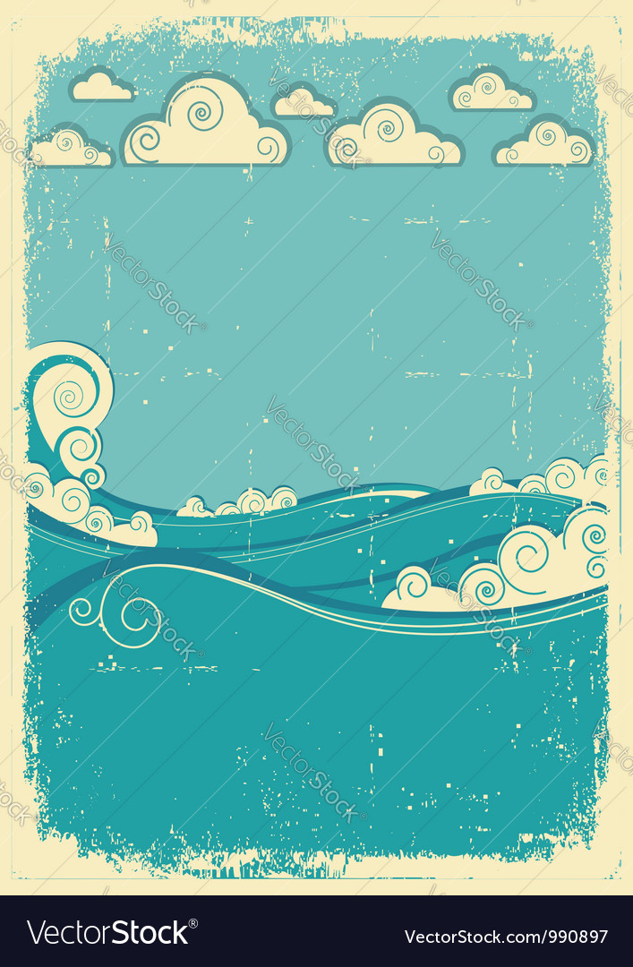 Sea waves in sun day vintage abstract image on vector | Price: 1 Credit (USD $1)
