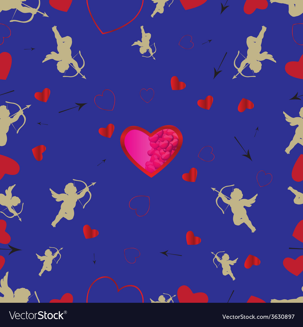 Seamless pattern with cupids and hearts vector | Price: 1 Credit (USD $1)