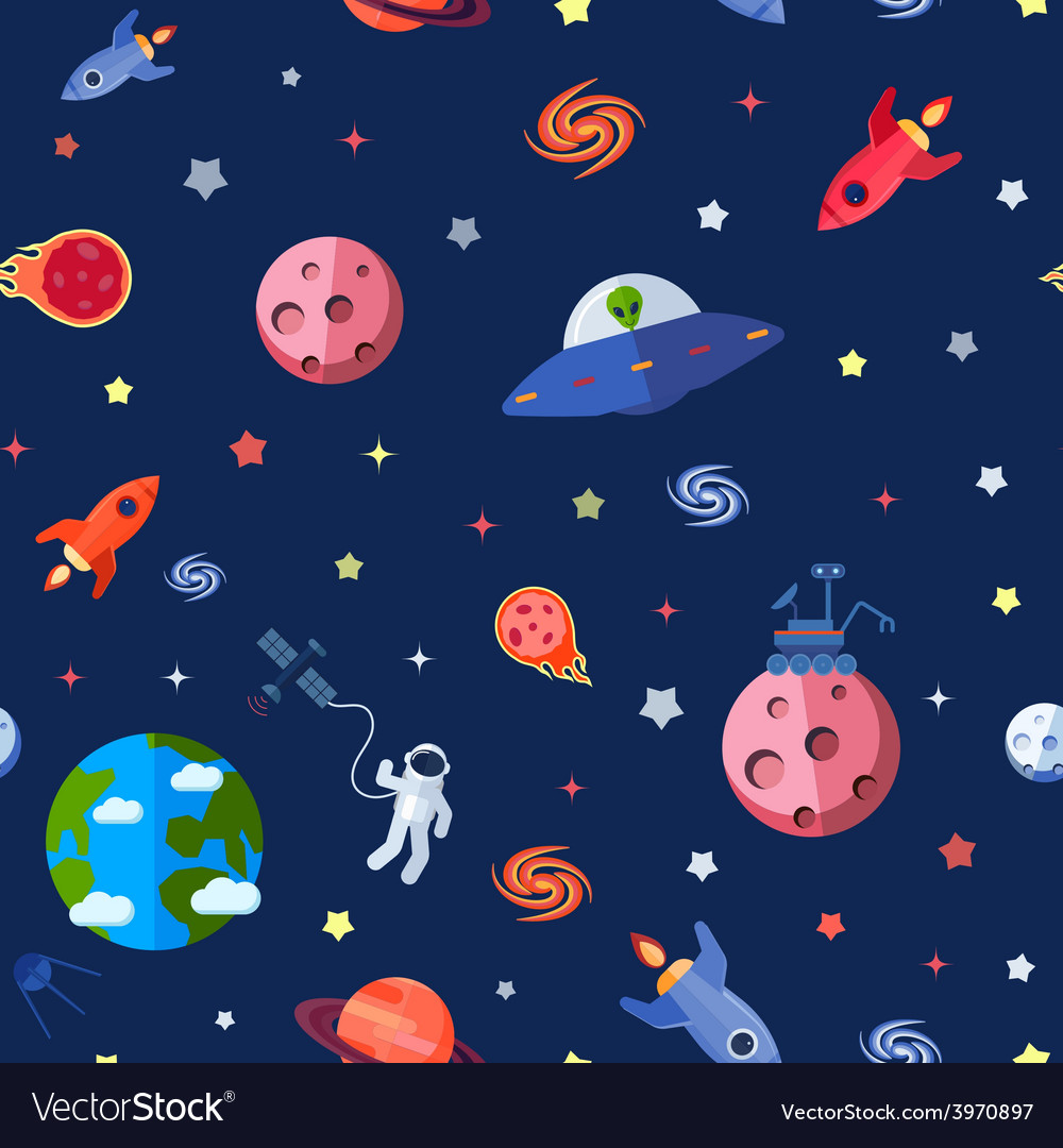 Space seamless pattern vector | Price: 1 Credit (USD $1)