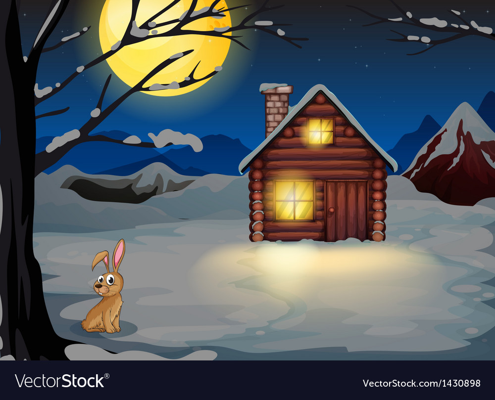 A rabbit outside the house in a moonlight scenery vector | Price: 1 Credit (USD $1)