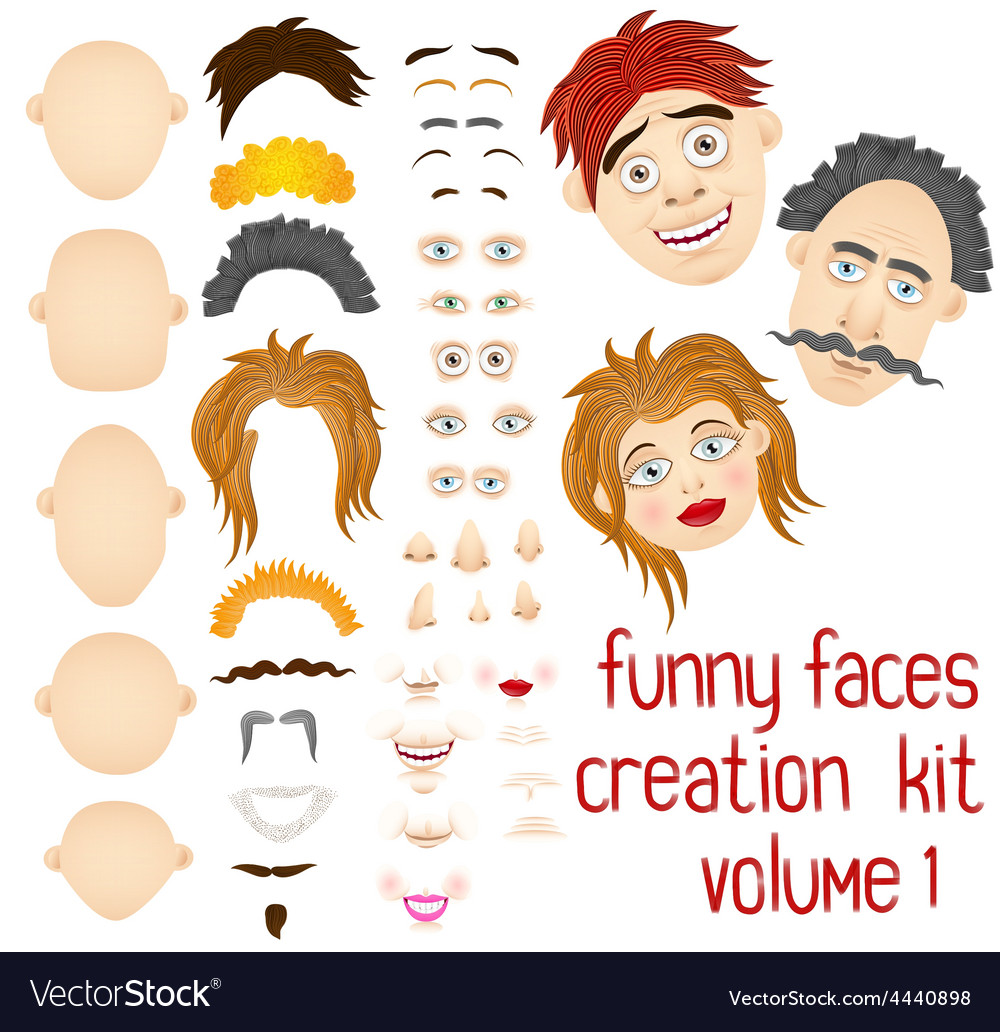 Cartoon face and body elements vector | Price: 1 Credit (USD $1)