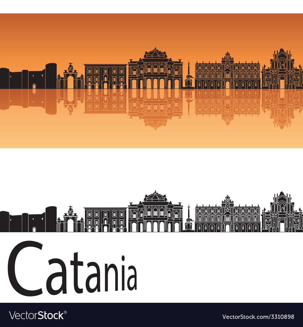 Catania skyline in orange background vector | Price: 1 Credit (USD $1)